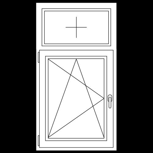 PVC Draai / kiep met bovenlicht (vast) raam