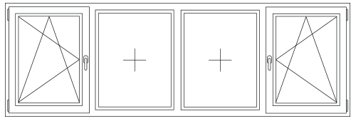 PVC Draai / kiep - vast - vast - draai / kiep raam