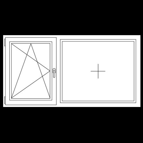 Aluminium draai / kiep (1/3) - vast (2/3) kozijn