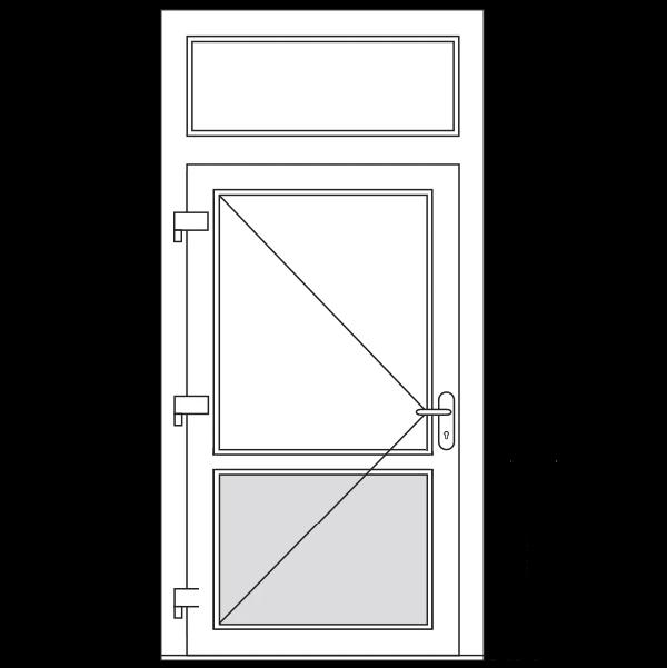 Achterdeur met borstwering en bovenlicht