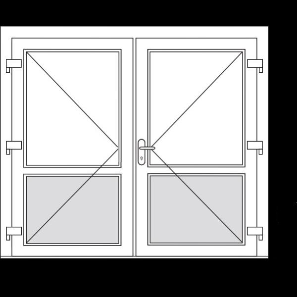 Aluminium dubbele deuren (2 vaks)
