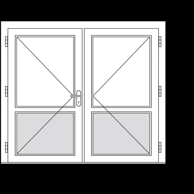 Dubbele deur met borstwering