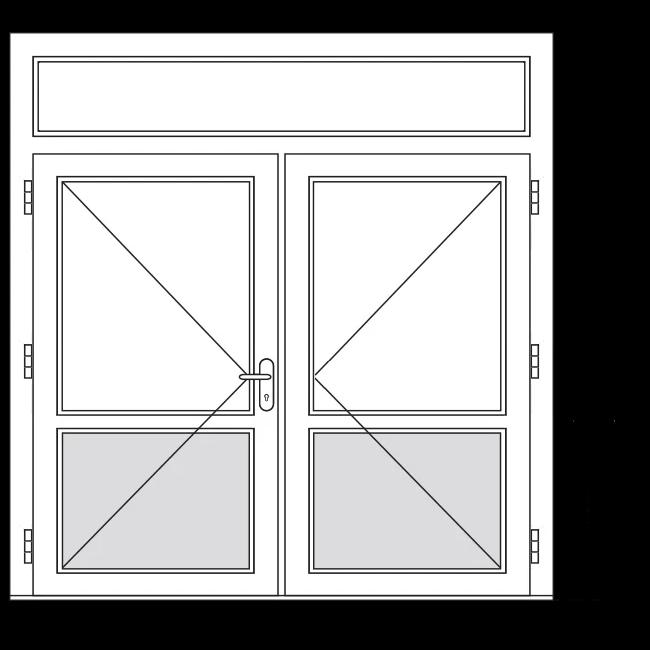 Dubbele terrasdeur met borstwering en bovenlicht