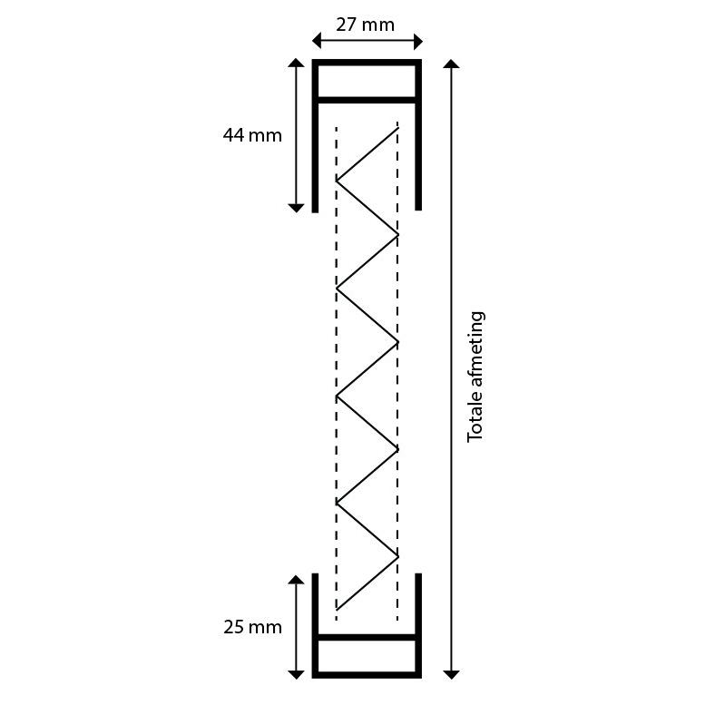 Plisse raamhor verticale doorsnede